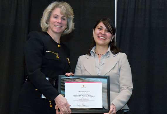 Sustainability ON Award received from president emerita of the University of Calgary, M. Elizabeth Cannon
